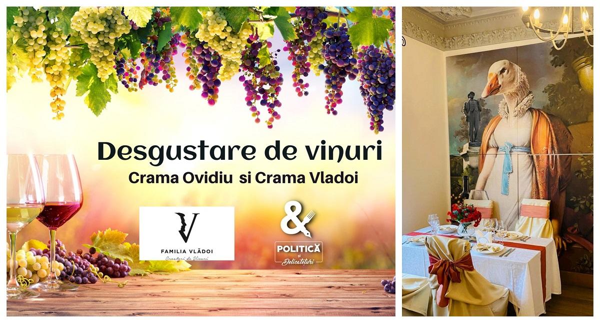 evenimente weekend: degustare de vin la restaurant Politica si Delicateturi - colaj imagine cu afis si imagine din restaurant