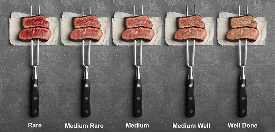 5 furculite de bucatarie, pe fundal gri, fiecare cu doua felii de steak infipte in ele, cu grade diferite de preparare, rare, mediul si well done
