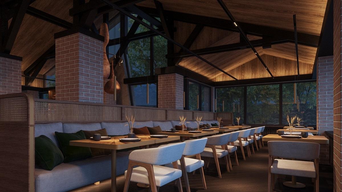 Restaurant Adamo, fotografiat seara, cu lumini difuze, tavan inalt, geamuri pana sus, elegant si rafinat, unul din restaurante noi București 2021